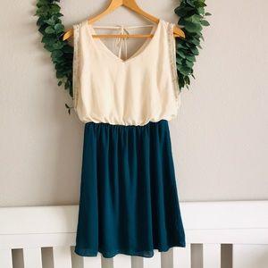 Miami Flowy Ivory & Green/Blue Dress